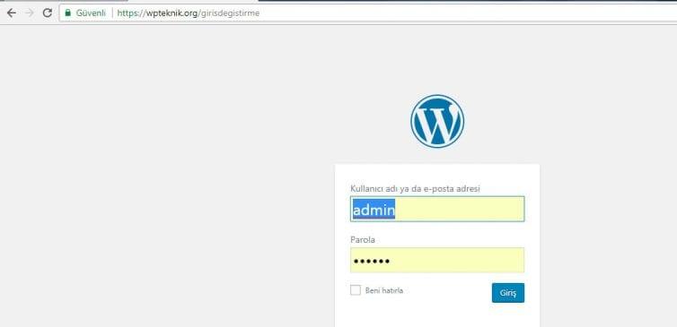 Wordpress Giriş Ekranı Değiştirme